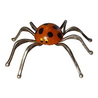 Polka Dot Bakelite and Silver Spider Halloween Decor