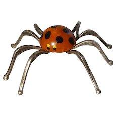 Polka Dot Bakelite and Silver Spider Halloween Decor