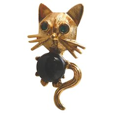 Vintage Black  Jelly Belly & Gold Cat Button