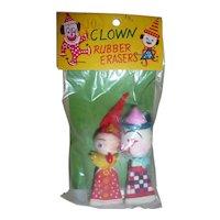 Vintage Spun Cotton Clown Head Rubber Pencil Erasers Japan MIP 2 Clowns