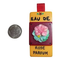 Bakelite & Celluloid Faux Perfume Bottle Eau De Rose Parfum Pin Brooch