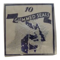 Vintage Gummed Seals Stickers Blue & Silver Christmas Trees MIP