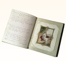 Handwritten Poetry Book with Pictures - dated 1853