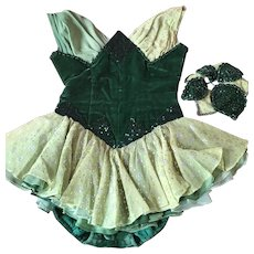 Showgirl Costume - Silk Velvet and Chiffon, Circa 1930's