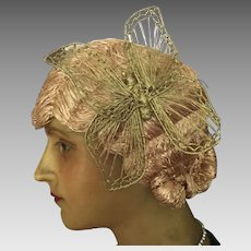 Raffia Cloche Wig with Butterfly detail - 1920's Original