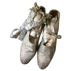 Lamé Wedding Shoes - Silver  with silk Garters and Stockings Circa 1920's