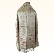 Silk Shawl - 1920's Original Hand Embroidered with Hand Knotted Fringe