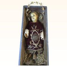 Wax Jesus in his Original Crib - Circa 1860's