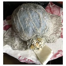 1920's Silver Metallic Lace cap with wax Flower