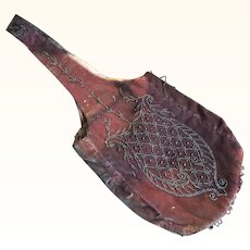 Victorian Pink Velvet Reticule with Silk Lining and Cut Steel Beading circa 1890's