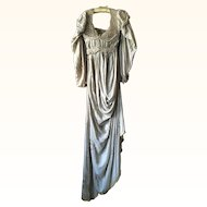 Oyster Coloured Silk Embroidered Theatre Dress Circa 1900's