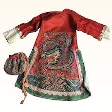 Miniature Chinese Robe & Bag for a Doll circa 1900