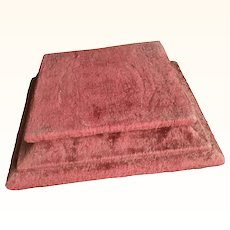 Antique Red Chenille Display Plinth