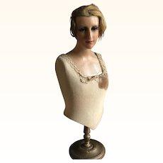 Circa 1920's Wax Mannequin Corset Display