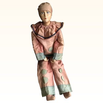 Original Vintage 1920's French Pierrot Boudoir Doll with JXB features