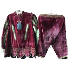 Circa 1920's Child's Red Silk Velvet Theatre Costume