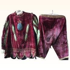 Circa 1920's Child's Red Silk Velvet Theatre Costume