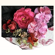 Selection of 1920's Millinery flowers silk velvet and Ribbon Work