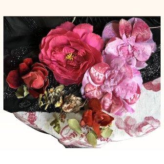 Selection of 1920's Millinery flowers silk velvet and Ribbon Work