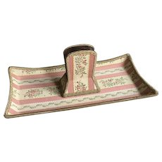 Circa 1900 French Ladies Boudoir Brocade Letter Holder and Pen Tray