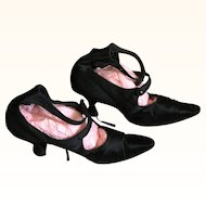 1920's Flapper Black Satin Heeled Shoes with Ankle Strap