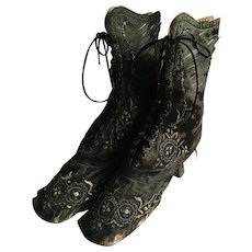 Embroidered French Silk laced Boots dated 1867 from the Paris Exposition
