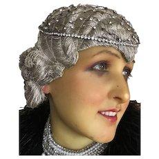 Original 1920's Rhinestone Flapper Skull cap