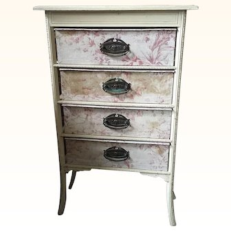 Circa 1920's  Set of French Faded Floral Fabric Ladies Boudoir Drawers