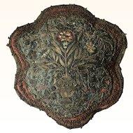 18th Century Metallic Thread Embroidered Cushion