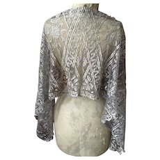 Original Length of 1920's Silver Metallic Lace, perfect for a Stole