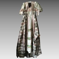 Antique Floral Glazed Cotton, Silk and Lace Theatre dress with Corseted Bodice circa 1880