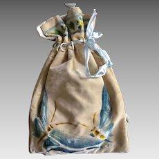 1920's Stencilled Silk Velvet Drawstring Bag