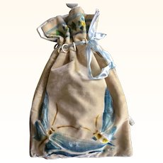 1920's Stencilled Silk Velvet Drawstring Bag