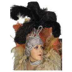 Original 1950's Rhinestone Showgirl Head dress with Black Ostrich Feather Plumes