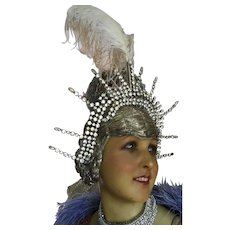Original 1950's Rhinestone Showgirl Head dress with Ostrich Feather Plume.