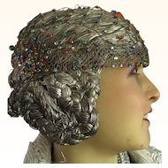 Original 1920's Gold Metallic Juliet Cap with coloured Stones