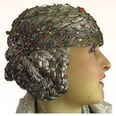 Original 1920's Gold Metallic Juliet Cap with coloured Stones