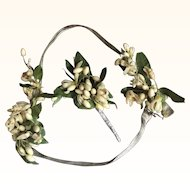 Circa 1920's Wax Flower and Lamé Wedding Headband and Corsage