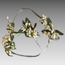 Circa 1920's Wax Flower and Lamé Wedding Headband and Corsage