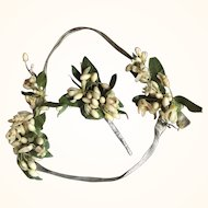 Wax Flower and Lamé Wedding Headband and Corsage - Circa 1920's