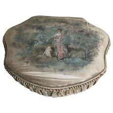 French Hand Painted Silk Ladies Boudoir Box Circa 1900