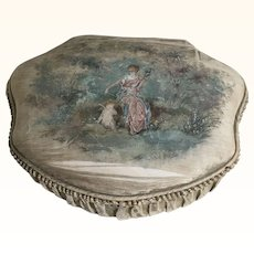 French Hand Painted Silk Ladies Boudoir Box Circa 1900