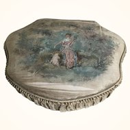 Ladies Boudoir Box - French Hand Painted Silk Circa 1900