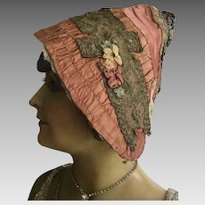 Ladies Victorian Silk, Lace and Ribbon work Bonnet circa 1880
