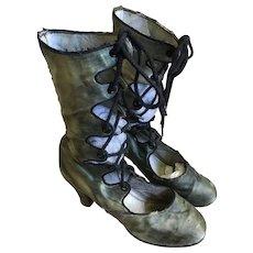 1920's Green satin Tango Boots