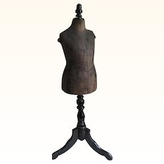 Antique Circa 1880's Rare French Child Mannequin on Wooden Stand