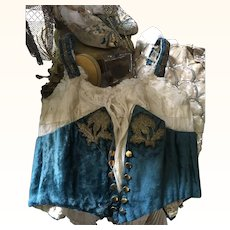 Victorian Silk Velvet Boned Bodice for display