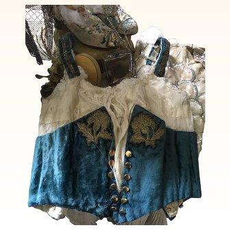 Victorian Silk Velvet Boned Bodice for display