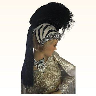 Rare 1920's Zebra Showgirl Head dress