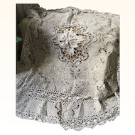 Early 20th Century French Linen and Cut Work Embroidered Table Covering/Bed cover with Crochet lace
